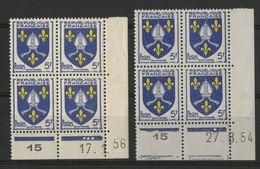 """N° 1005 (x2) ** (MNH). 2 Coins Datés Du 17/1/56 Et Du 27/8/54 """" Armoiries Saintonge """" - 1950-1959"""