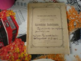 A Temes Begavolgyi Vizszabalyozasi Tarsulat Gatvedelmi Szabalyzata Temesvar 1902 47 Pages - Libros, Revistas, Cómics