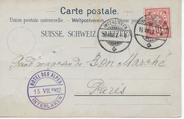 """CPA Circulé """"Grand Hôtel Et Pension Des Alpes"""" à INTERLAKEN (Suisse) 15/07/1902 Adressée Au Bon Marché PARIS - BE Berne"""