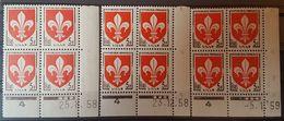 """N° 1186 (x3) ** (MNH). 3 Coins Datés Du 23/12/58, 25/8/58 Et Du 5/1/59. """" Armoiries Lille """" - 1950-1959"""