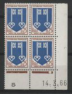 """N° 1469 ** (MNH). Coin Daté Du 14/3/66 """" Armoiries Mont-de-Marsan """" - 1960-1969"""