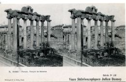 N°873 R -carte Stéreoscopique -Rome -forum Temple De Saturne- - Estereoscópicas