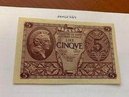 Italy 5 Lire Uncirculated Banknote 1944  #9 - [ 1] …-1946: Königreich