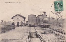 CPA (26) CHARPEY La Gare (Intérieur) Et Le Train Tramway De Valence Port En Royans (2 Scans) - France