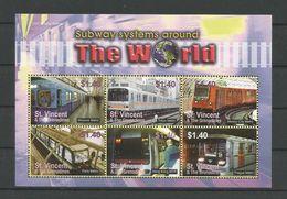 St Vincent 2004 Subways Around The World Sheet Y.T. 4823W/AB ** - Treinen