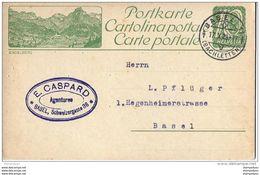 "22 - 6 - Entier Postal Avec Illustration ""Engelberg"" Cachet à Date Basel 1923 - Postwaardestukken"