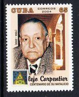 2004 Cuba Carpentier Literature Writer Complete Set Of 1  MNH - Neufs