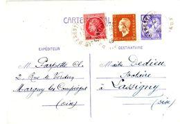 MARGNY Les COMPIEGNE Oise Carte Postale Entier 1,20 F Iris Complément 30c Dulac 1F Mazelin Yv 651-CP1 676 683 Ob 1946 - Entiers Postaux
