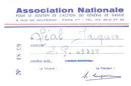 ASSOCIATION NATIONALE POUR LE SOUTIEN DE L'ACTION DU GENERAL DE GAULLE  N°18299  17/3/1967 - Cartes