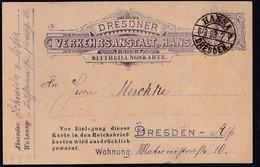 Privatpost, Hansa-Dresden, 1893 , Ganzsache 3 Pf, Gestempelt. - Private