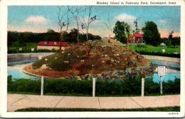 Iowa Davenport Fejevary Park Monkey Island Curteich - Davenport
