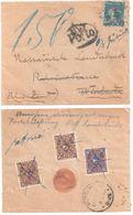 Lettre Dest Allemagne WIESBADEN 25c Semeuse Bleu Yv 140 Ob 1927 Taxe 80 Mark Refusée Marque PORTO Déchirure Enveloppe - Covers & Documents