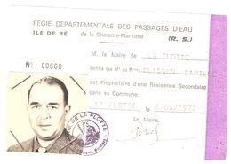 REGIE DEPARTEMENTALE DES PASSAGES D'EAU DE LA CHARENTE-MARITIME  ILE DE RE   N°00666   LA FLOTTE 8/05/1972 - Cartes