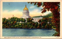 West Virginia Charleston State Capitol Building And Kanawha River 1937 Curteich - Charleston