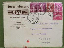 Letre, Essi Macon, Oblitéré Macon 1936 Envoyé à Virton Belgique - France