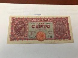 Italy 100 Lire Turrita Circulated Banknote 1944 #1 - [ 1] …-1946: Königreich