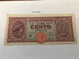 Italy 100 Lire Turrita Uncirc. Banknote 1944 #2 - [ 1] …-1946: Königreich