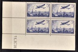 FRANCE  1934 / 1936 - BLOC DE 4 TP  Y.T. N° 12 / COIN DE FEUILLE / DATE - NEUFS** - Poste Aérienne