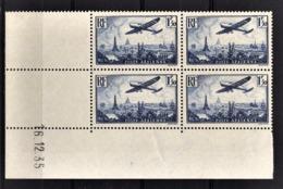 FRANCE  1934 / 1936 - BLOC DE 4 TP  Y.T. N° 9 / COIN DE FEUILLE / DATE - NEUFS** - Poste Aérienne