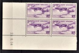 FRANCE  1934 / 1936 - BLOC DE 4 TP  Y.T. N° 7 / COIN DE FEUILLE / DATE - NEUFS** - Poste Aérienne