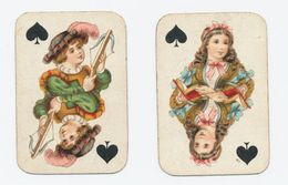 Kinderspeelkaarten B. Dondorf (van Voor 1906) - 2 Kaarten: Schuppen Boer En Schuppen Dame - Cartes à Jouer