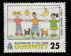 Guernsey 2000 The Millennium - International Drawing Contest For Children 25p Multicolored SW 836 O Used - Guernsey