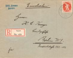 1920 SPEYER Einschreib-Bfhülle N. Berlin - Germany