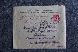 Enveloppe Publicitaire - NARBONNE : PUJOL André, Assurances. - Banca & Assicurazione