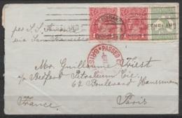 """Australie - L. Affr. 3 1/2d Flam. BRISBANE /-6.MAY.1915 Pour PARIS Par Bateau S.S. Savona - Cachet Censure """"PASSED CENSO - 1913-48 Kangaroos"""