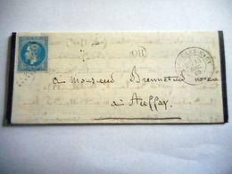 LAC  FORGES LES EAUX 1869 AUFFAY Marque Postal OR Empire Francais 20 C Bleu - 1849-1876: Période Classique