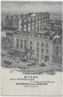 LUXEUIL-LES-BAINS - HOTEL DE LA POMME D'OR - SUPERBE CARTE PUBLICITAIRE - VERS 1900 - Luxeuil Les Bains