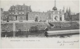 DUNKERQUE - LA SOUS-PREFECTURE - CARTE PRECURSEUR AVEC SUPERBE ANIMATION, PENICHE - 1903 - Dunkerque