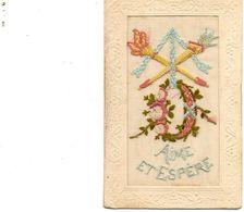 "Carte Brodée ""Aime Et Espère"". - Embroidered"