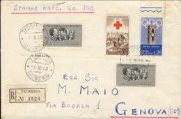 1960 INDIPENDENZA Lire 25 E Due C.15 + PREOLIMPICA Lire 25 Su Stampe Due Porti Raccomandata Taormina (4.4) VAL GEMELLI - 1946-.. République