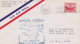1947 STATI UNITI US 1 VOLO ELICOTTERO A.M. 84 Bollo Su Aerogramma Alhambra (1.10) - Poste Aérienne