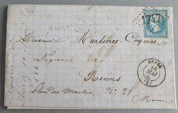 EMPIRE DENTELE 22 SUR LETTRE DE GUISE A REIMS DU 16 MAI 1868 (GROS CHIFFRE 1747) - 1849-1876: Période Classique