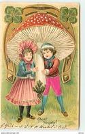 N°14129 - Carte Gaufrée - Prosit Neujahr - Enfants Sous Un Champignon Et Un Fer à Cheval - Nouvel An