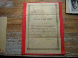 26 E REGIMENT D'ARTILLERIE  CERTIFICAT DE BONNE CONDUITE FAIT PAR LE LIEUTENANT COLONEL BRASSART  CHARTRES 23 AOUT 1919 - Documents