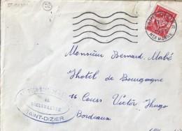 52 . HAUTE MARNE . SAINT DIZIER . SECAP . 1955   SUR LETTRE FRANCHISE MILITAIRE - Marcophilie (Lettres)