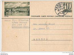 """22-31 - Entier Postal Avec Illustration """"Olten"""" Cachet à Date De Territet 1952 - Postwaardestukken"""