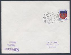 72 St Calais C.P. N° 3 Sarthe Correspondant Postal Hexagone Automobile Rurale 1510 Saint Lô Tarif Imprimé Verso Lavernat - Postmark Collection (Covers)