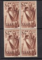 Un Bloc  De 4  Timbres  **  1947 - Monument Marshall-Ney à Saarlouis  N° 214 Yvert   84 Pfg  Brun - Neufs