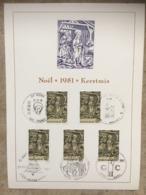 2030 (5x Noël 1981) 5 Cachets Différents 21-11-1981 : Chenée, Hamme-Mille, Antwerpen, Koksijde, Geel - Maximumkarten (MC)