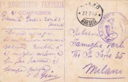 1915 7 REGGIMENTO FANTERIA Tondo E Lineare Su Cartolina Breno (27.7) Non Affrancata Non Tassata - Storia Postale