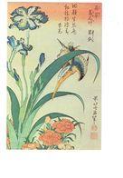 Cpm - HOKUSAÏ - Martin Pêcheur Iris œillet - Estampe Japonaise - Publicité PRISUNIC - 1979 - Oiseau Fleur Dessin - Oiseaux