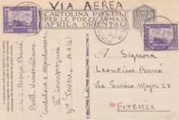 1936 Btg. Universitario Curtatone E Montanara Manoscr Su Cartolina Franchigia Via Aerea Posta Militare/N 123 S, C2 (28.4 - Somalia
