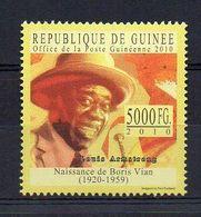 REP. GUINEA. 2010. BORIS VIAN - LOUIE ARMSTRONG. MNH (6R1175) - Writers