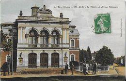ALBI  ( Tarn Illustré ): Le Thèatre Et Avenue Villeneuve Carte Colorisée ( 1913 ) - Albi