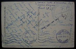 Niort 1945 Cachet Cours D'instruction F.F.AU, Caserne Largeau, Sur Carte Humoristique: Le Poëte - Marcophilie (Lettres)