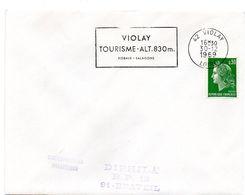 PORC - CHARCUTERIE = 42 VIOLAY 1969 = FLAMME SECAP  ' TOURISME / Rideaux - Salaisons ' - Marcophilie (Lettres)